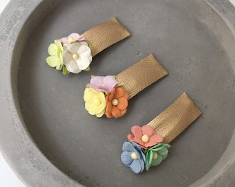 Gold snap hair clips set of 3 Petites / Baby and girls dusty pink faux leather lined pastel green yellow lilac mulberry paper rose flowers