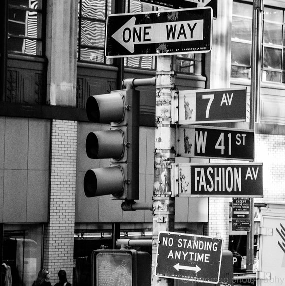 Fashion ave street new york city black and white prints digital download prints 7th ave street sign street lights home decor