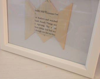 Japanese love knot, book gift, paper gift, origami gift, stocking filler, wedding gift, book lover, framed origami, Japanese gift, vintage