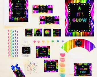 GLOW in The Dark PARTY COLLECTION ~ Personalized Printable Download