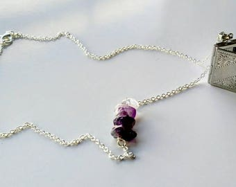 My Story Amethyst .925 Silver Book Locket Necklace