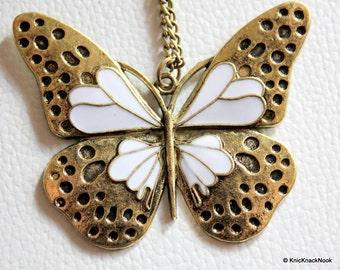 1 x Retro Bronze Tone White Butterfly Pendant 6cm x 5cm