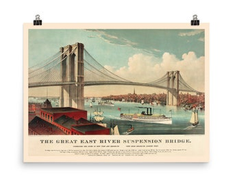 Brooklyn Bridge / East River Bridge, c. 1883, Premium Luster Photo Paper Poster