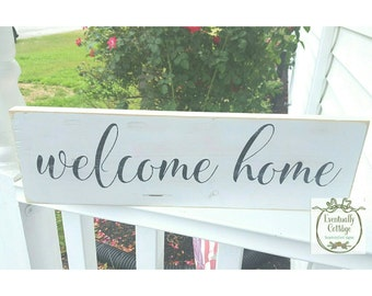 Welcome Home Sign, Entryway Decor, Wall Decor, French Country Cottage, Housewarming Gift, Cottage Signs, Country Cottage, Cottage Home Decor
