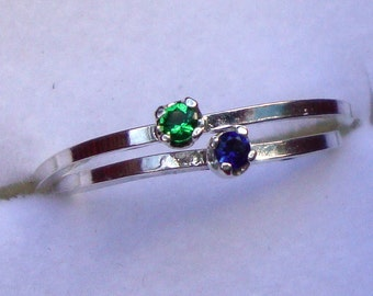 One tiny birthstone prong set in eco-friendly recycled sterling silver ring - 2mm Custom Made in your Size by my hand in the USA
