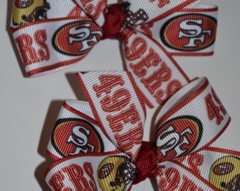 Set of Two San Francisco 49ers Hair Bows Football