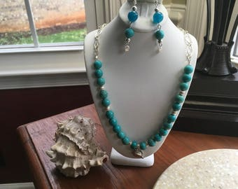 Sterling Silver and Magnesite Necklace and Earring Set