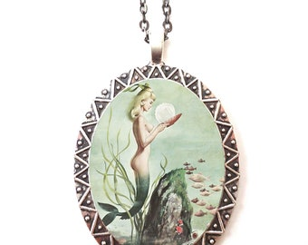 Pin Up Mermaid Necklace Pendant Silver Tone - Pinup Girl Retro 1950's