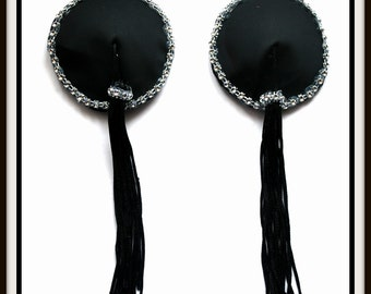 Burlesque Style Pasties in Jet Black Satin with Jeweled Crystal Trim & Easy Spin Black Twirl Tassels