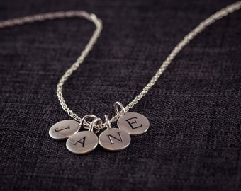 Letter Necklace, (4) four Initial Necklace, Personalized Necklace, Name, Sterling Silver, Circle Disc Charm