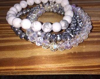 Stackable stretch beaded bracelets