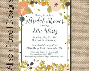 Watercolor Floral Bouquet Bridal Shower/Luncheon Elegant Invitations - Gold Green Black Print your own