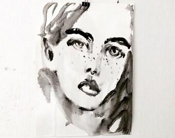 Minimalistic Portrait Painting - Female Portrait Black-and-White - Acrylic Painting - Drawing - Face - Modern Art - Original Artwork
