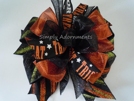 Black Orange Halloween Bow Trick or Treat Wreath Bow Halloween Lantern Bow Wreath Bow Trick or Treat Door Bow Swag Bow Halloween Party Decor