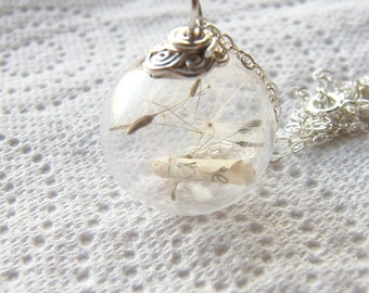 Dandelion Seed Necklace, Glass Globe with Message, Wish Necklace, Message in a Bottle, Personalized Necklace, Inspirational Gift