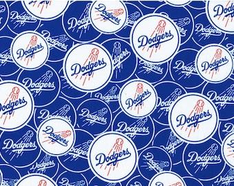 "NLB LA Dodgers Fabric, Los Angeles Dodgers Logo Fabric, 60"" width Dodgers 100% Cotton Fabric"
