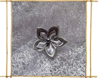 double flower in gray and white satin