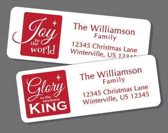 Christmas Address Labels, Return Address Label Stickers, 60 labels, Religious Labels, Jesus, Joy to the World, Christ, Christian Christmas