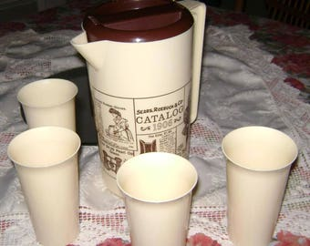 Vintage 1960 Sears & Roebuck Plastic Advertising Pitcher and Tumblers