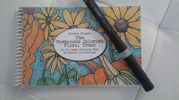The Passionate Colorist - floral treat compact (half page) coloring book by illustrator Cynthia Silveri