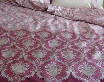 Twin / Twin XL Duvet Cover Purple Damask Pattern Cotton Satin Dorm Bedding Quilt Cover Home Decor
