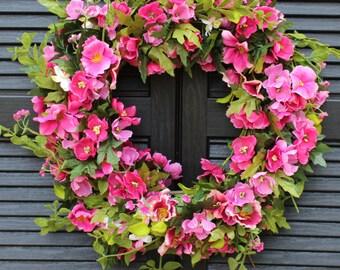 Pink Floral Door Wreath - Hot Pink Flower Wreath - Spring Summer Door Decor