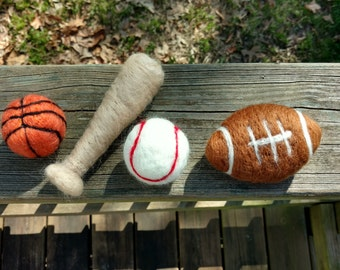Felted sports set, felted football, felted baseball, felted basketball, Newborn felted prop