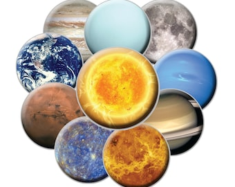 Planetary Magnet Set - 10 Magnets - 2.25 Planet Magnets - Space Magnets