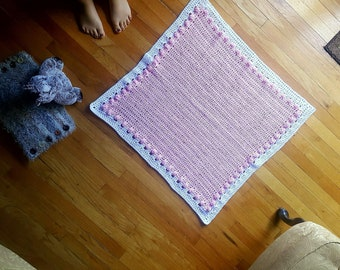 Perfectly Pink Popcorn w/ White Border Baby's Blanket