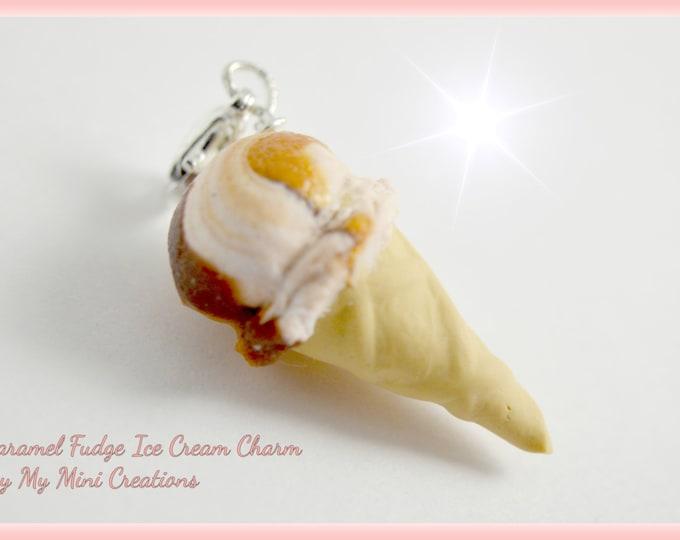 Caramel Fudge Ice Cream Charm , Miniature Food, Food Jewelry, Miniature Food Jewelry