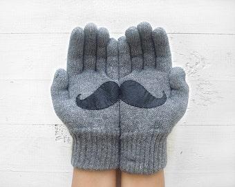 Men's Gloves, Winter Sale, Gift For Men, Gift For Him, Gift For Husband, Mustache Gift, Mens Gift, Gift For Him, Men Gloves, Discount Gift