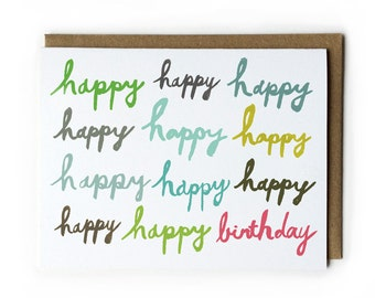 Happy Birthday Card, Birthday Card for Friend, Brush Lettering Card, Blank Greeting Card, A2, 4.25 x 5.5, Green, Blue, Pink, Grey, Olive