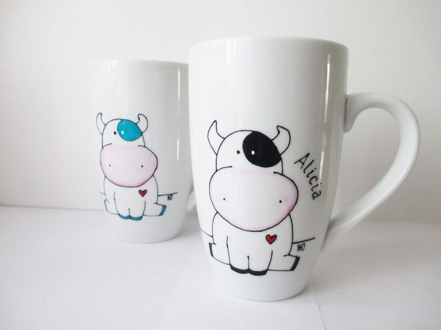 hand painted porcelain coffee tea mug with cow and heart