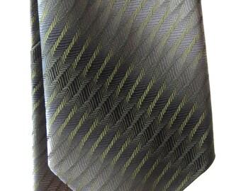 Mens Wembley Neck Tie Gray Green Striped 55L, SALE
