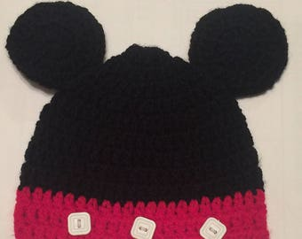 Crocheted Mickey Mouse Hat, You pick the size, Infant through Adult!
