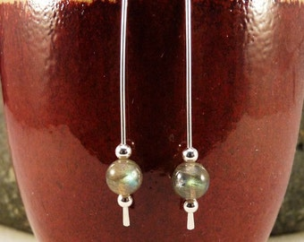 Sterling Silver Ear Threads with Labradorite beads.  Modern, Minimalist, Eco Friendly