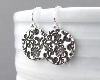 Sterling Silver Earrings Silver Flower Earrings Floral Jewelry Silver Drop Earrings Valentines Day Gift for Her Handmade Jewelry