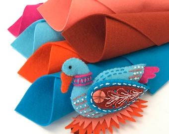 Wool Felt Kit, Goose a-Laying, Christmas Decoration, 12 Days Ornaments, DMC Floss, Sulky, Stick 'n Stitch, DIY Felt Craft, Embroidery