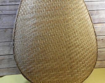 Vintage Rattan Winnowing Basket, Gold Brown Woven Tobacco Basket, Philippine Rice Basket, Large Decorative Wall Hanging,Made in Philippines