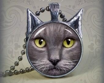 GK3 Russian Blue Cat pendant