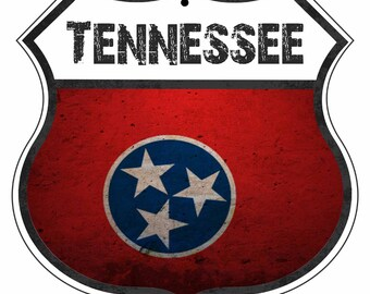 TENNESSEE State Vintage Flag Novelty Highway Shield Metal Sign