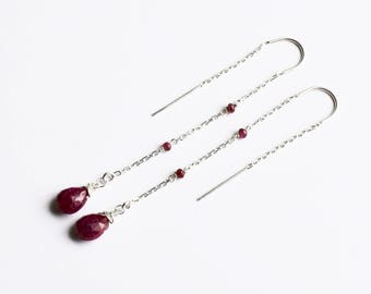 Ruby Earrings, Ruby Threader Earrings, Silver U Thread Earrings, July Birthstone Red Raw Ruby Dangle Earrings, Long Earrings, Chain Earrings