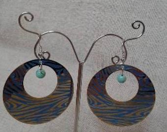 Earrings Creole Blue Zebra
