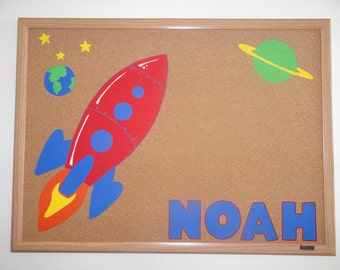 Rocketship Bulletin Board; Personalized Corkboard; handpainted