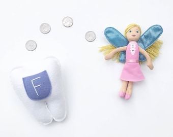 Personalized Tooth Fairy Pillow.  Periwinkle Pocket.