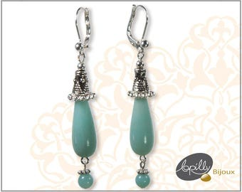 Earrings amazonite, blue, stone semiprecious, plated silver, pendant