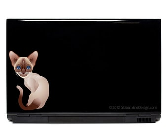 Siamese Cat Vinyl Laptop Decal | macbook decal car decal cat lover crazy cat lady siamese cat decal cat stickers cat mom cat decor