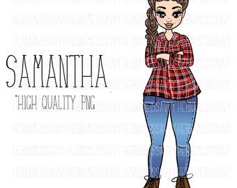 Samantha || Fashion Illustration | | hernameisSavvy | | Planner Stickers | Die Cuts | PNG | Download