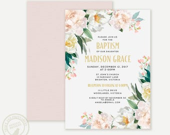 Baptism Invitation, Pretty Girl Baptism, Christening Invitation,  Floral Invite, Printable, Digital, 9026