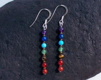 Long Drop Chakra Rainbow Earrings